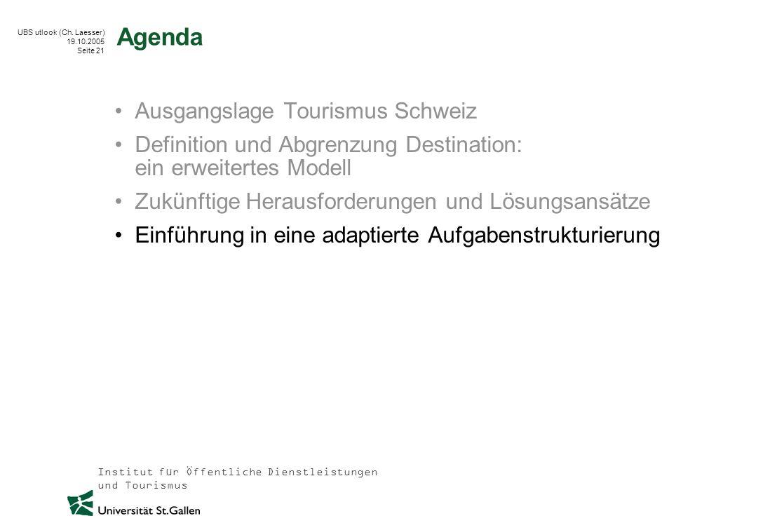 Institut für Öffentliche Dienstleistungen und Tourismus UBS utlook (Ch. Laesser) 19.10.2005 Seite 21 Agenda Ausgangslage Tourismus Schweiz Definition
