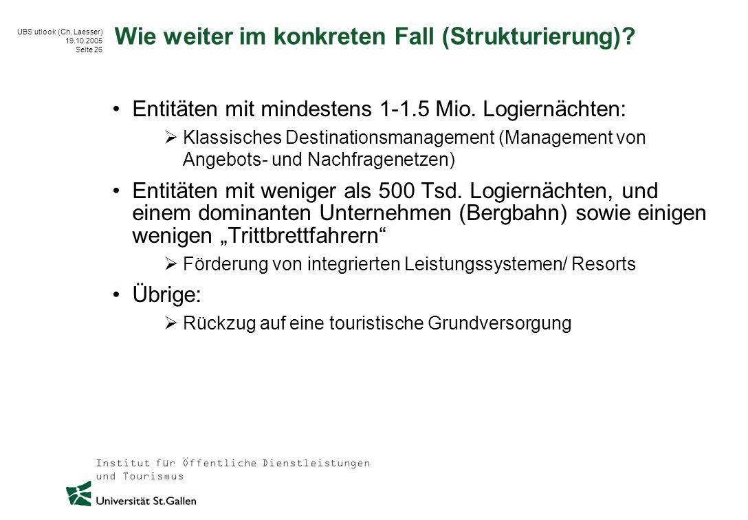 Institut für Öffentliche Dienstleistungen und Tourismus UBS utlook (Ch. Laesser) 19.10.2005 Seite 26 Wie weiter im konkreten Fall (Strukturierung)? En