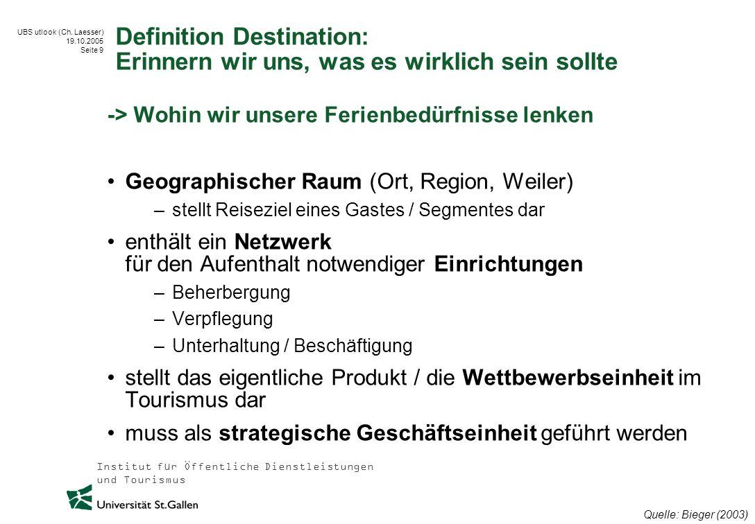 Institut für Öffentliche Dienstleistungen und Tourismus UBS utlook (Ch. Laesser) 19.10.2005 Seite 9 Definition Destination: Erinnern wir uns, was es w