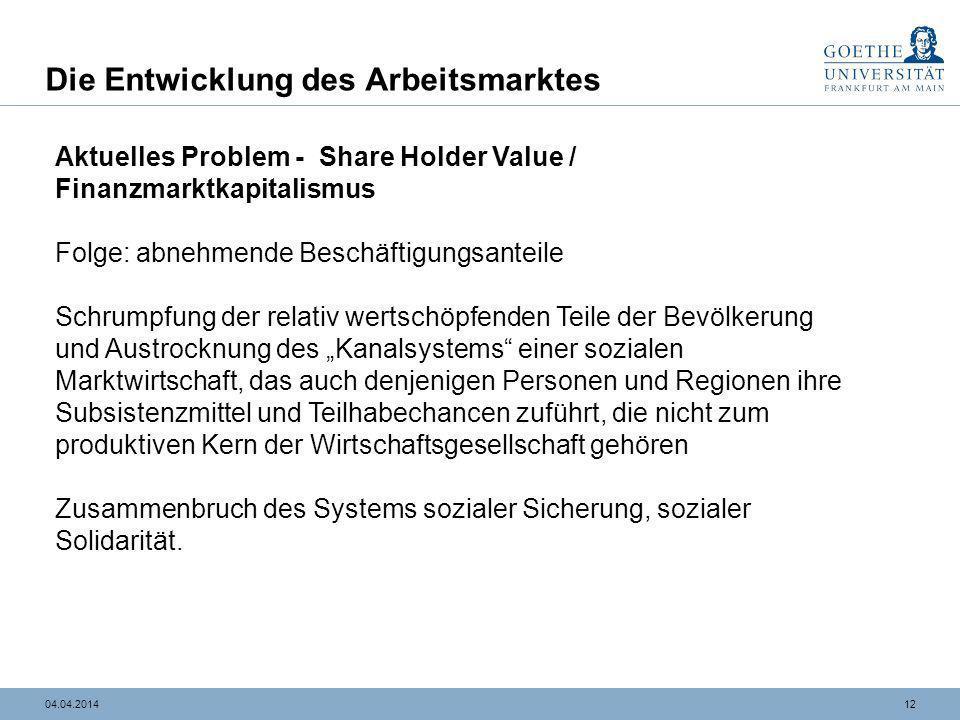1204.04.2014 Die Entwicklung des Arbeitsmarktes Aktuelles Problem - Share Holder Value / Finanzmarktkapitalismus Folge: abnehmende Beschäftigungsantei