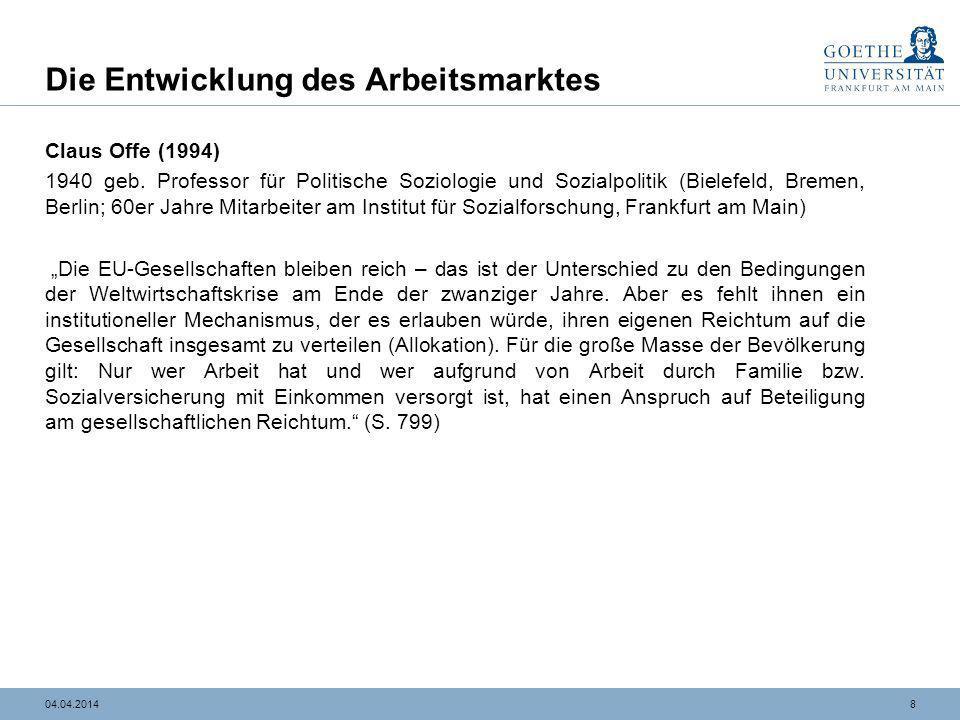 804.04.2014 Die Entwicklung des Arbeitsmarktes Claus Offe (1994) 1940 geb. Professor für Politische Soziologie und Sozialpolitik (Bielefeld, Bremen, B