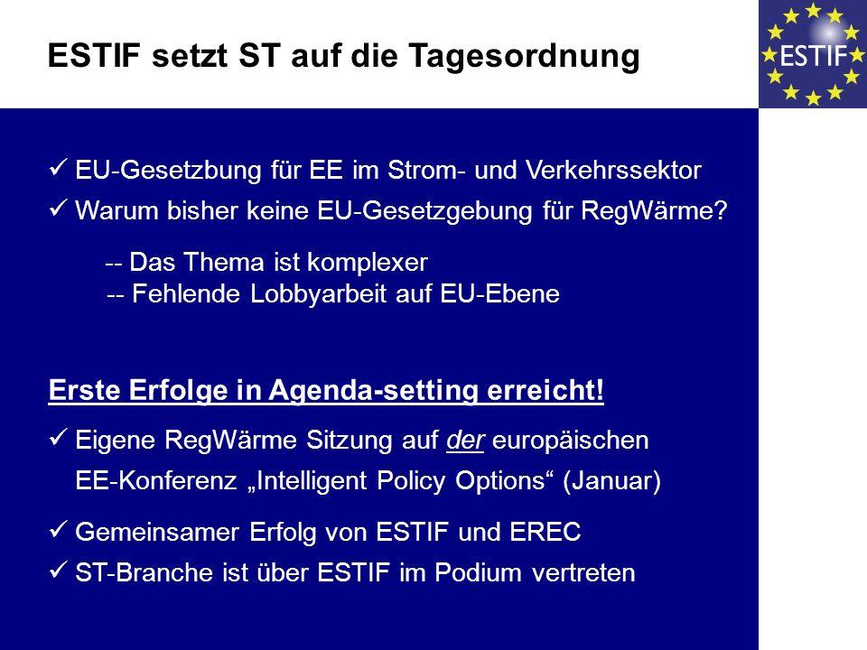 EU-Gesetzbung für EE im Strom- und Verkehrssektor Warum bisher keine EU-Gesetzgebung für RegWärme? -- Das Thema ist komplexer -- Fehlende Lobbyarbeit