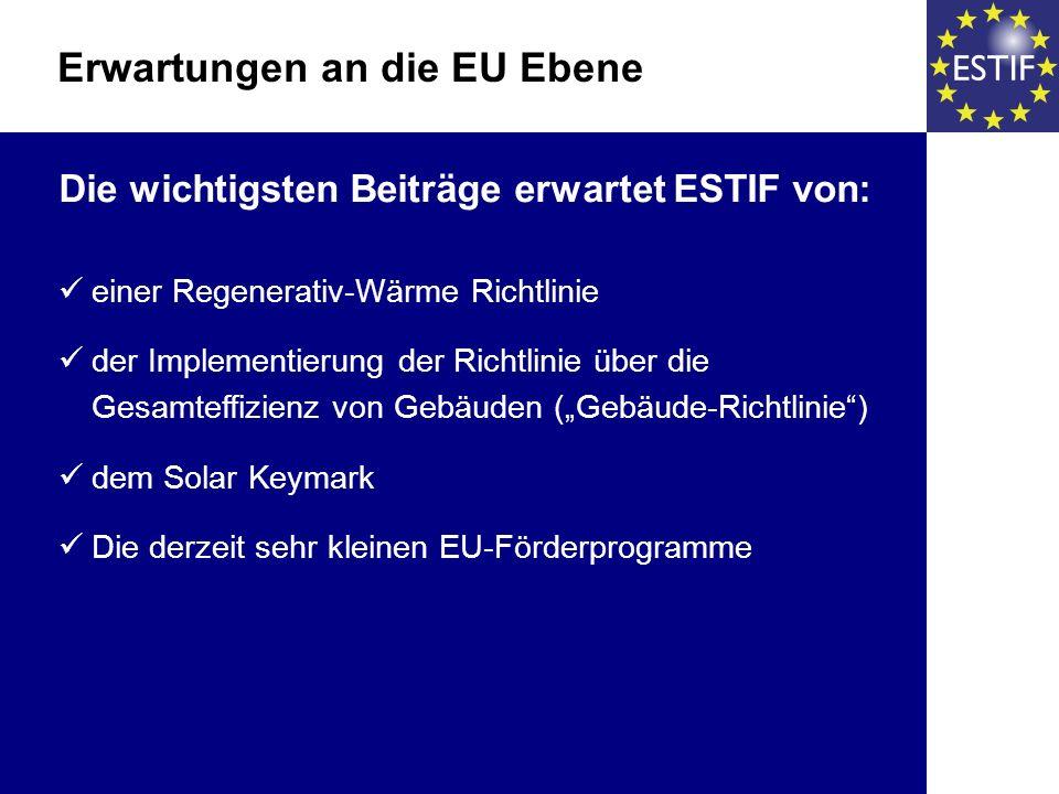 Die wichtigsten Beiträge erwartet ESTIF von: einer Regenerativ-Wärme Richtlinie der Implementierung der Richtlinie über die Gesamteffizienz von Gebäud