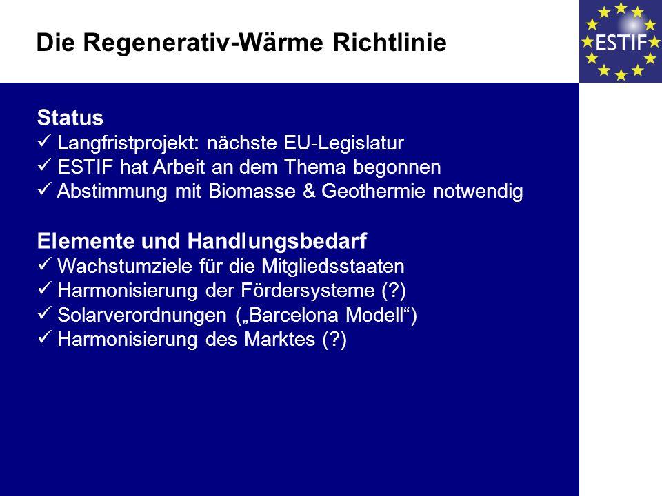 Status Langfristprojekt: nächste EU-Legislatur ESTIF hat Arbeit an dem Thema begonnen Abstimmung mit Biomasse & Geothermie notwendig Elemente und Handlungsbedarf Wachstumziele für die Mitgliedsstaaten Harmonisierung der Fördersysteme ( ) Solarverordnungen (Barcelona Modell) Harmonisierung des Marktes ( ) Die Regenerativ-Wärme Richtlinie