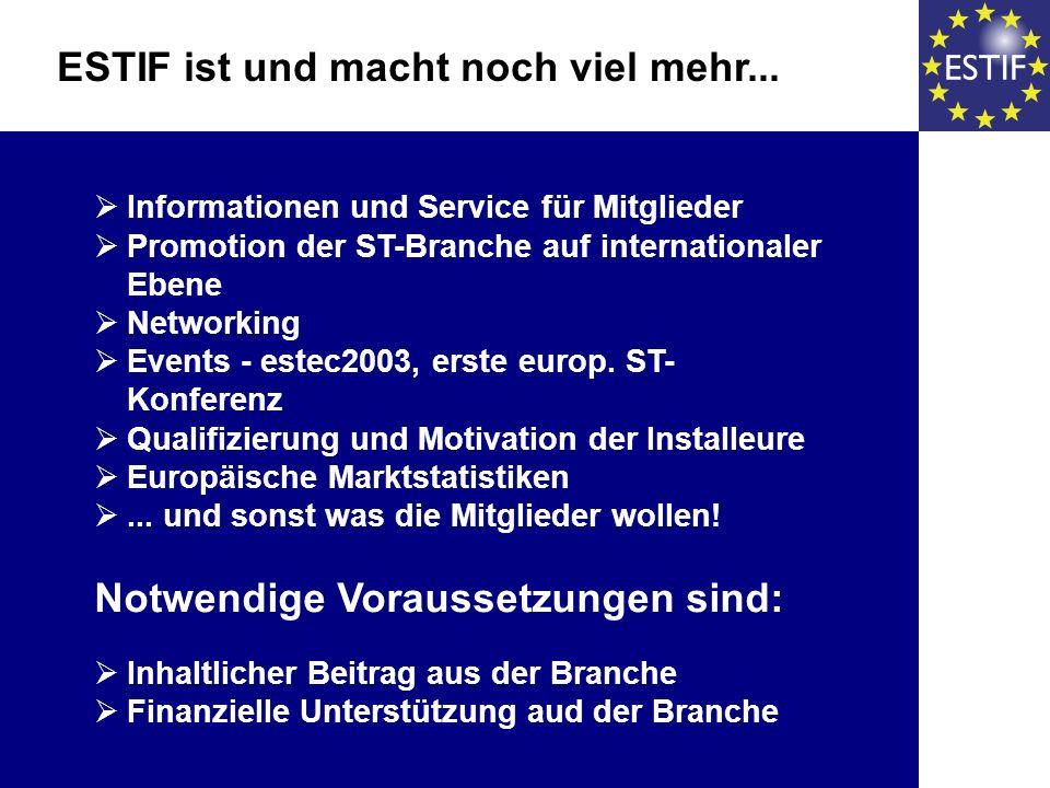 Informationen und Service für Mitglieder Promotion der ST-Branche auf internationaler Ebene Networking Events - estec2003, erste europ.