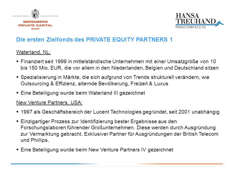 Die ersten Zielfonds des PRIVATE EQUITY PARTNERS 1 Waterland, NL: Finanziert seit 1999 in mittelständische Unternehmen mit einer Umsatzgröße von 10 bis 150 Mio.