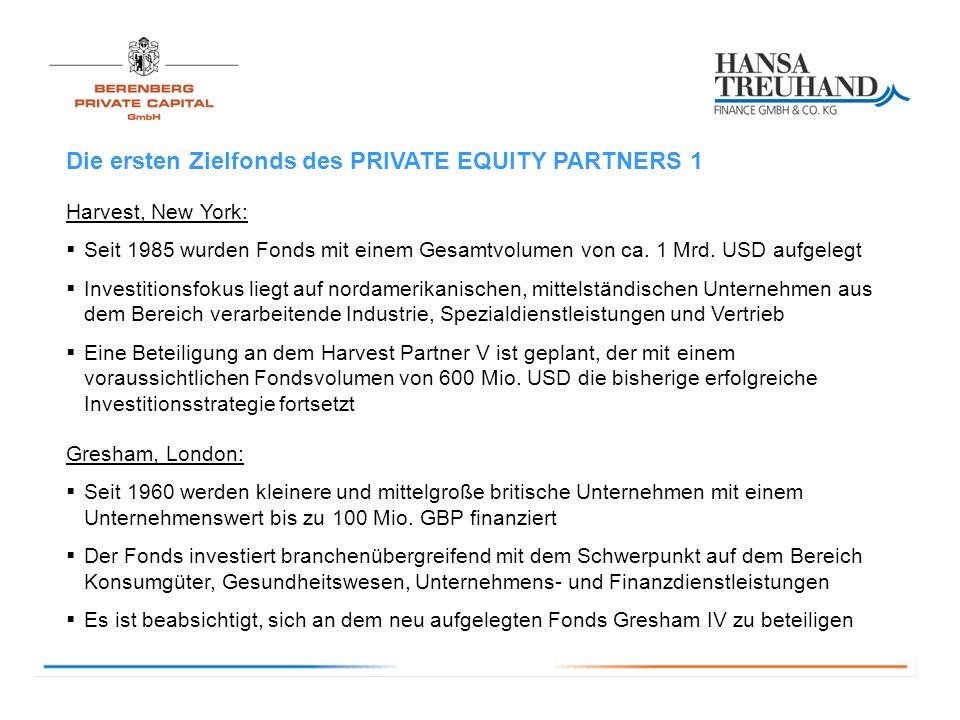 Die ersten Zielfonds des PRIVATE EQUITY PARTNERS 1 Harvest, New York: Seit 1985 wurden Fonds mit einem Gesamtvolumen von ca.