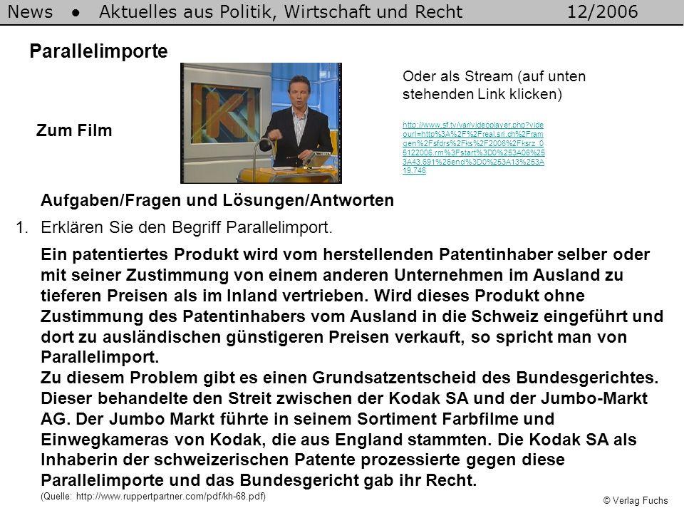 © Verlag Fuchs News Aktuelles aus Politik, Wirtschaft und Recht12/2006 2.Nennen Sie je zwei Argumente für und gegen ein Verbot von Parallelimporten.