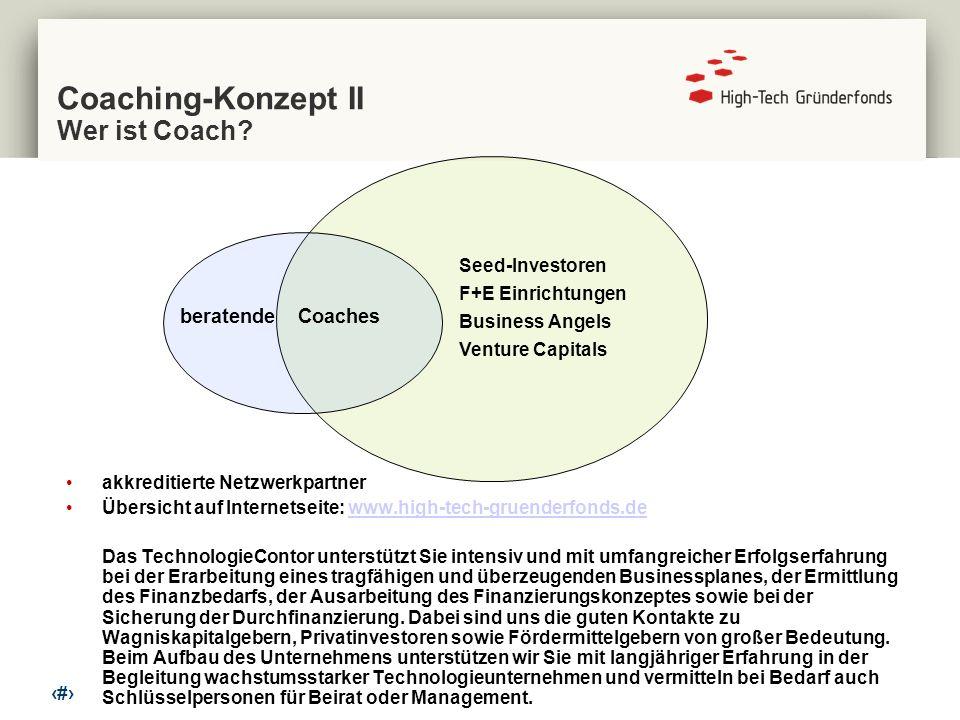 7 Coaching-Konzept II Wer ist Coach? akkreditierte Netzwerkpartner Übersicht auf Internetseite: www.high-tech-gruenderfonds.dewww.high-tech-gruenderfo