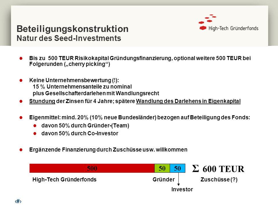 9 Beteiligungskonstruktion Natur des Seed-Investments Bis zu 500 TEUR Risikokapital Gründungsfinanzierung, optional weitere 500 TEUR bei Folgerunden (