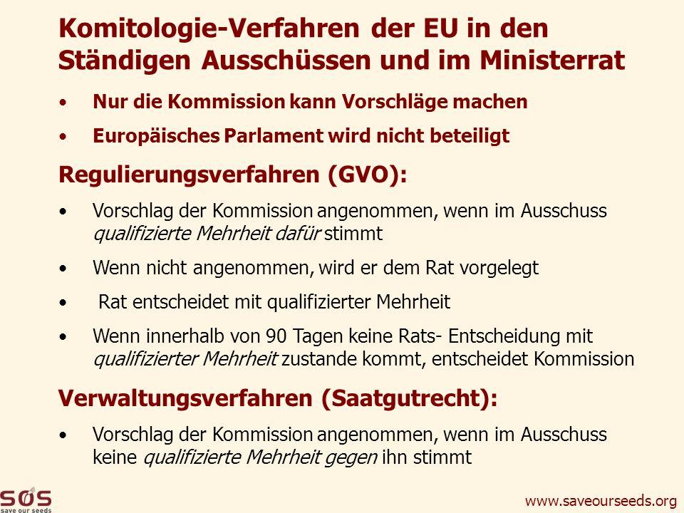 www.saveourseeds.org Nur die Kommission kann Vorschläge machen Europäisches Parlament wird nicht beteiligt Regulierungsverfahren (GVO): Vorschlag der