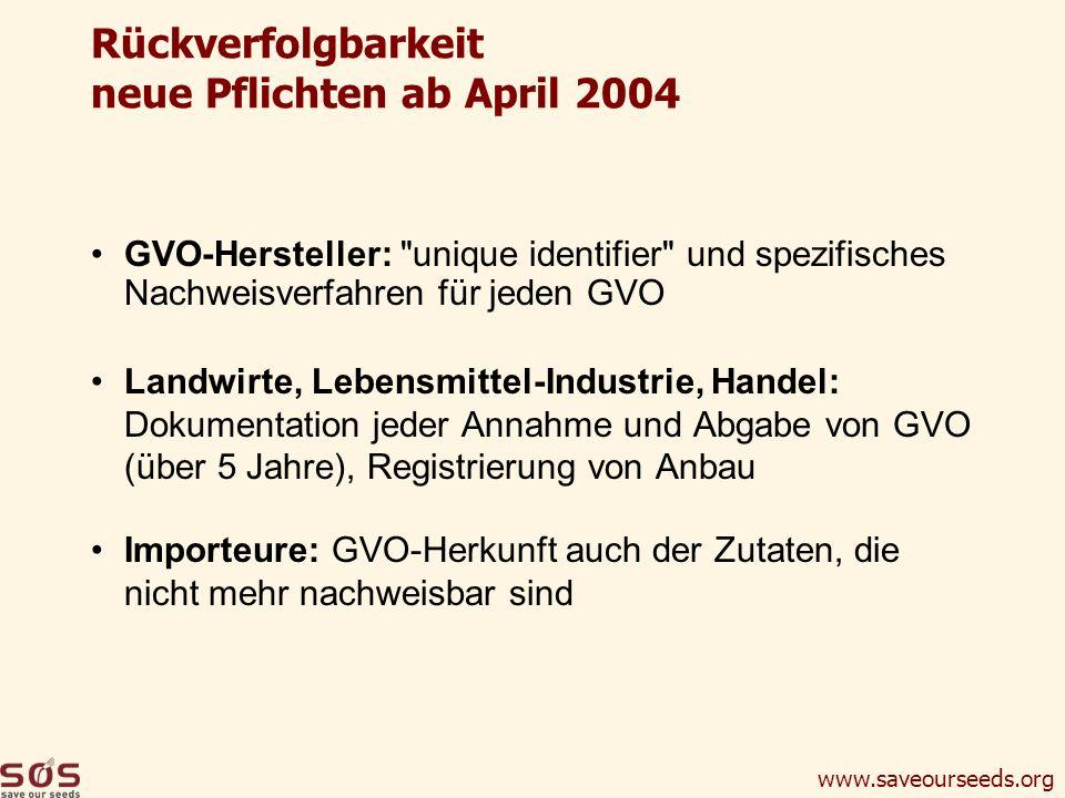 www.saveourseeds.org Rückverfolgbarkeit neue Pflichten ab April 2004 GVO-Hersteller: