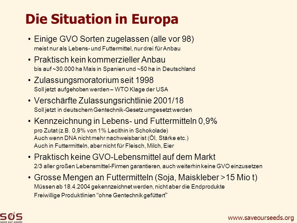 www.saveourseeds.org Die Situation in Europa Einige GVO Sorten zugelassen (alle vor 98) meist nur als Lebens- und Futtermittel, nur drei für Anbau Pra