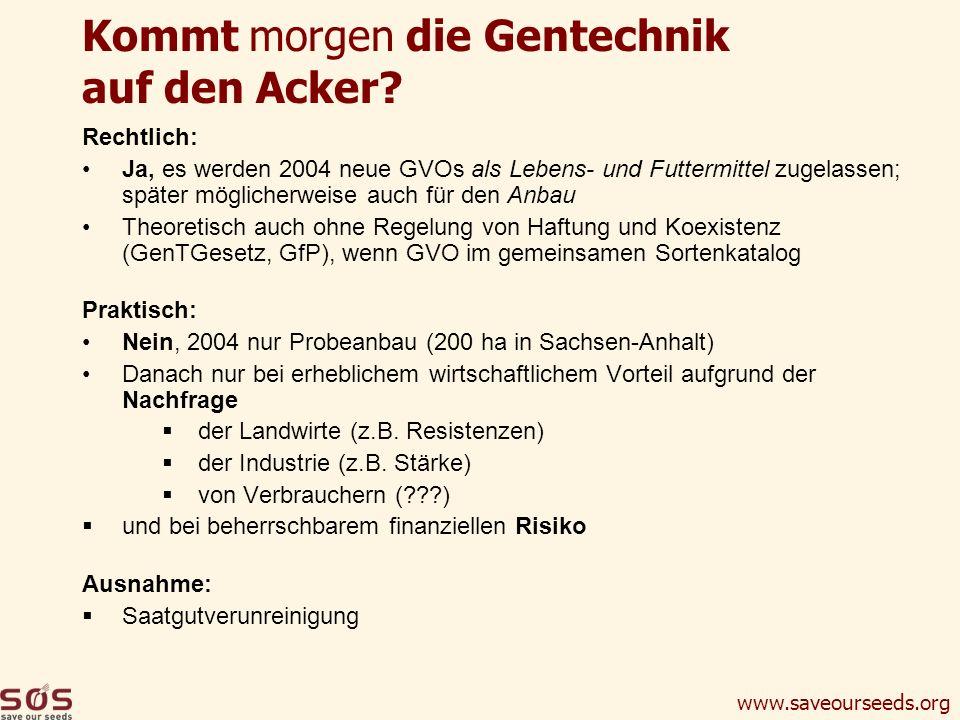 www.saveourseeds.org Kommt morgen die Gentechnik auf den Acker? Rechtlich: Ja, es werden 2004 neue GVOs als Lebens- und Futtermittel zugelassen; späte