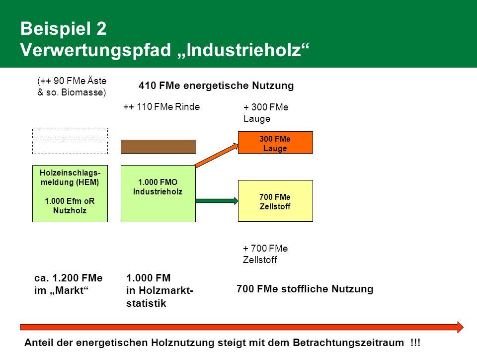 Beispiel 2 Verwertungspfad Industrieholz Holzeinschlags- meldung (HEM) 1.000 Efm oR Nutzholz ++ 110 FMe Rinde 700 FMe Zellstoff 300 FMe Lauge (++ 90 FMe Äste & so.
