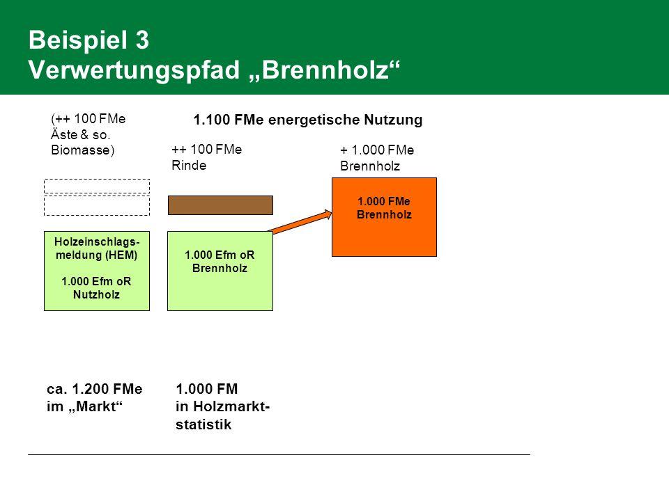 Beispiel 3 Verwertungspfad Brennholz Holzeinschlags- meldung (HEM) 1.000 Efm oR Nutzholz ++ 100 FMe Rinde 1.000 FMe Brennholz (++ 100 FMe Äste & so. B