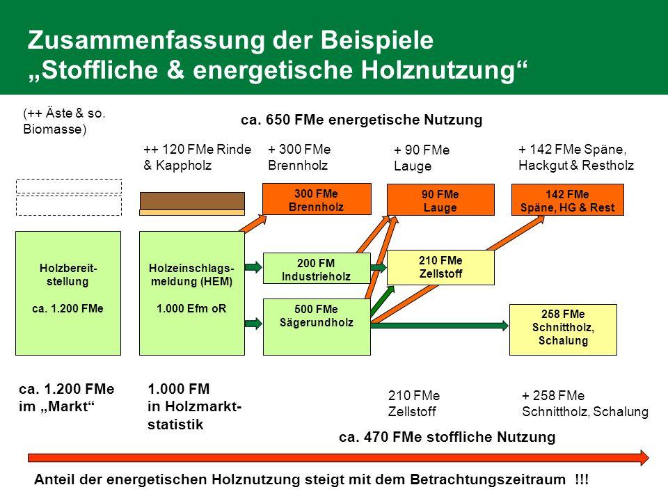 Zusammenfassung der Beispiele Stoffliche & energetische Holznutzung Holzbereit- stellung ca. 1.200 FMe ++ 120 FMe Rinde & Kappholz 90 FMe Lauge (++ Äs