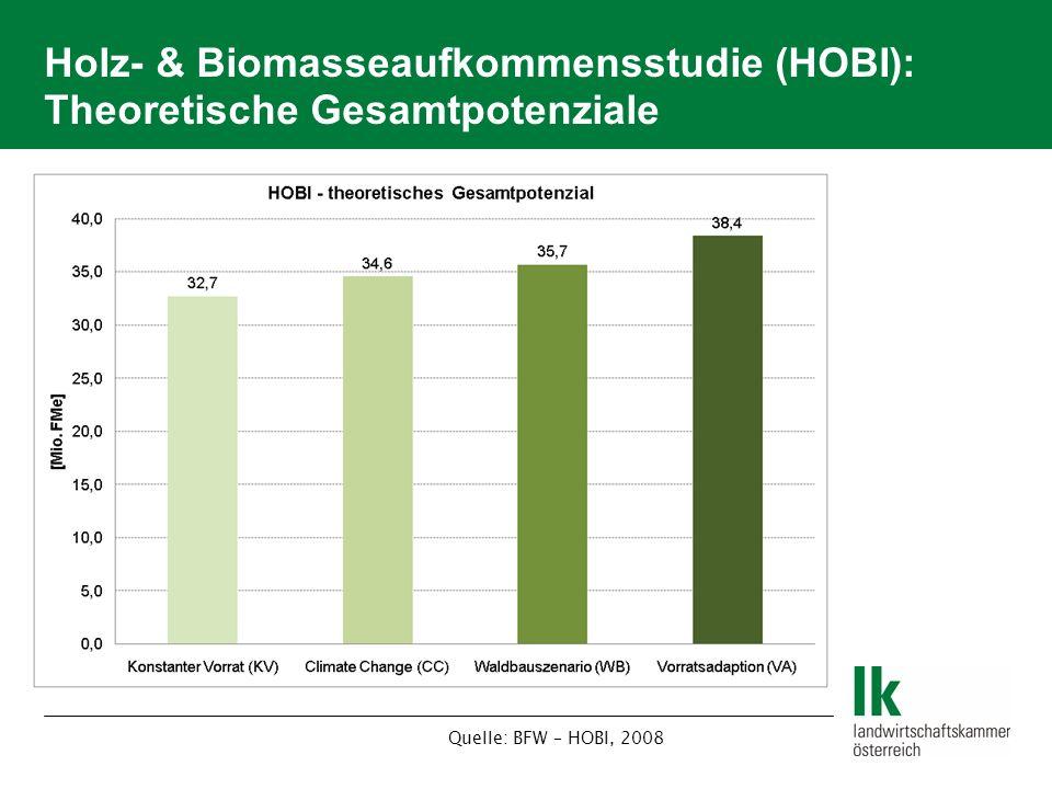 Holz- & Biomasseaufkommensstudie (HOBI): Theoretische Gesamtpotenziale Quelle: BFW – HOBI, 2008
