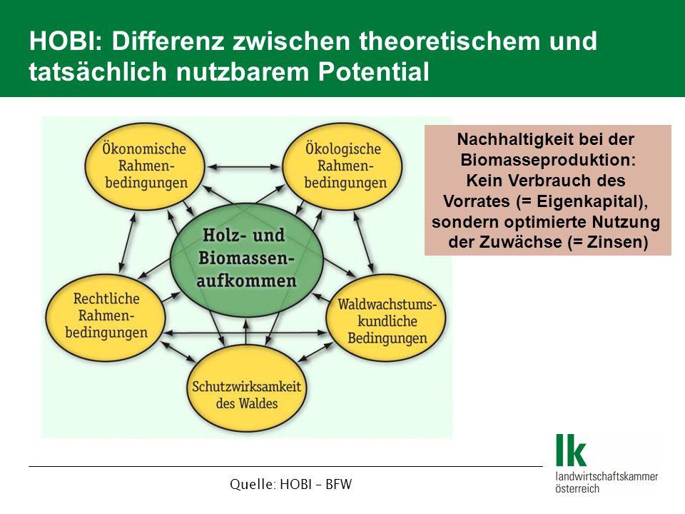 HOBI: Differenz zwischen theoretischem und tatsächlich nutzbarem Potential Quelle: HOBI – BFW Nachhaltigkeit bei der Biomasseproduktion: Kein Verbrauch des Vorrates (= Eigenkapital), sondern optimierte Nutzung der Zuwächse (= Zinsen)