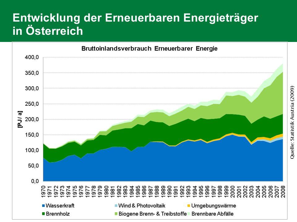 Entwicklung der Erneuerbare Energie in A Bruttoinlandsverbrauch 2005 & 2008 Bioenergie + 47 PJ Wasser, Wind, PV, UW + 11 PJ Quelle: Statistik Austria (2009)