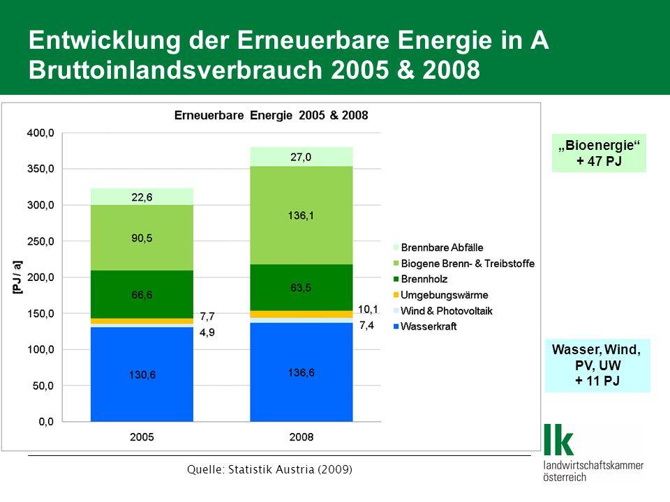 Entwicklung der Erneuerbare Energie in A Bruttoinlandsverbrauch 2005 & 2008 Bioenergie + 47 PJ Wasser, Wind, PV, UW + 11 PJ Quelle: Statistik Austria