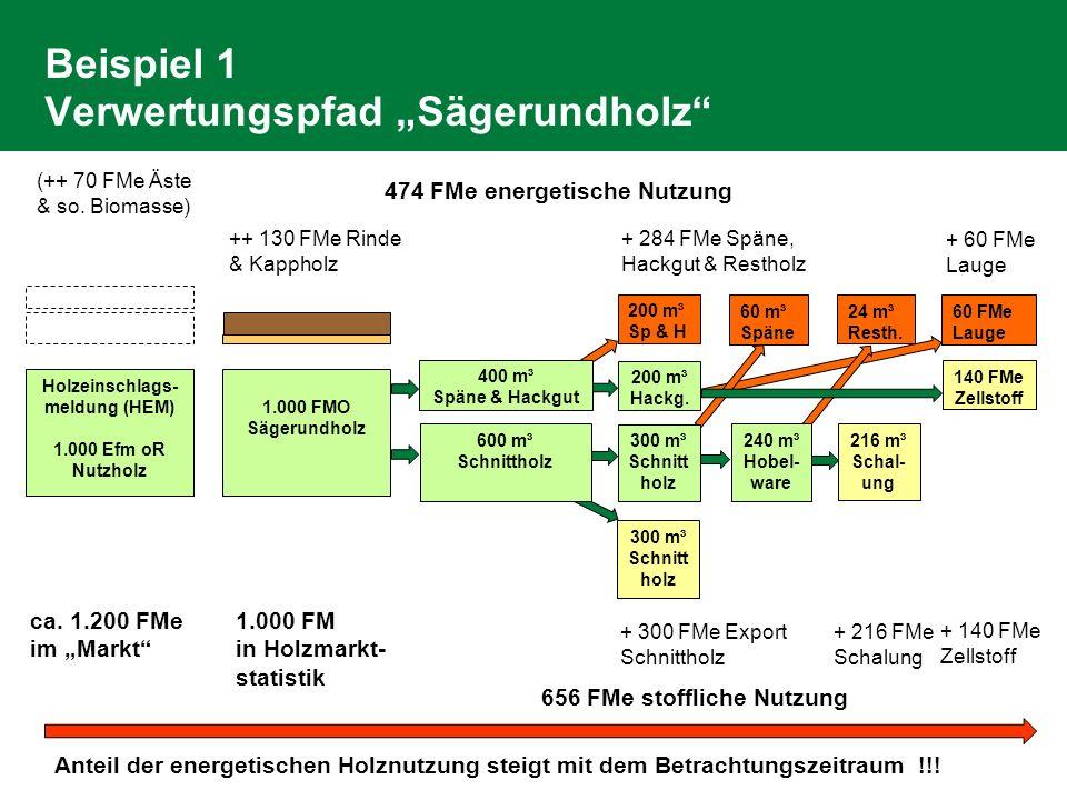 Beispiel 1 Verwertungspfad Sägerundholz Holzeinschlags- meldung (HEM) 1.000 Efm oR Nutzholz ++ 130 FMe Rinde & Kappholz 300 m³ Schnitt holz 200 m³ Hac