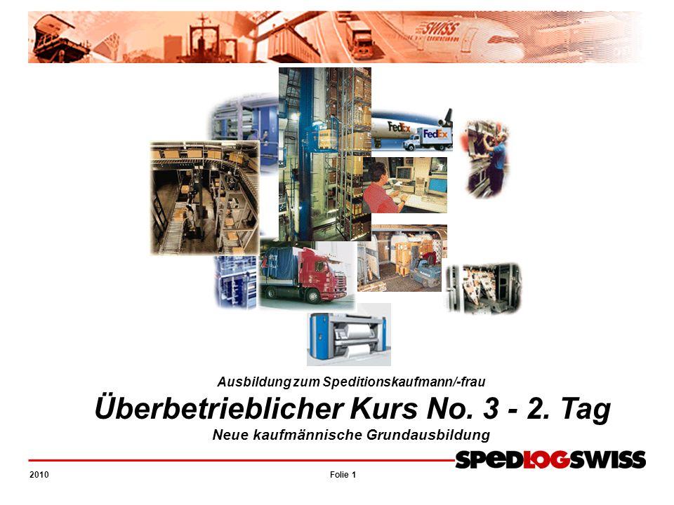 Folie 1 2010 UeK 3 – NKG Ausbildung zum Speditionskaufmann/-frau Überbetrieblicher Kurs No. 3 - 2. Tag Neue kaufmännische Grundausbildung