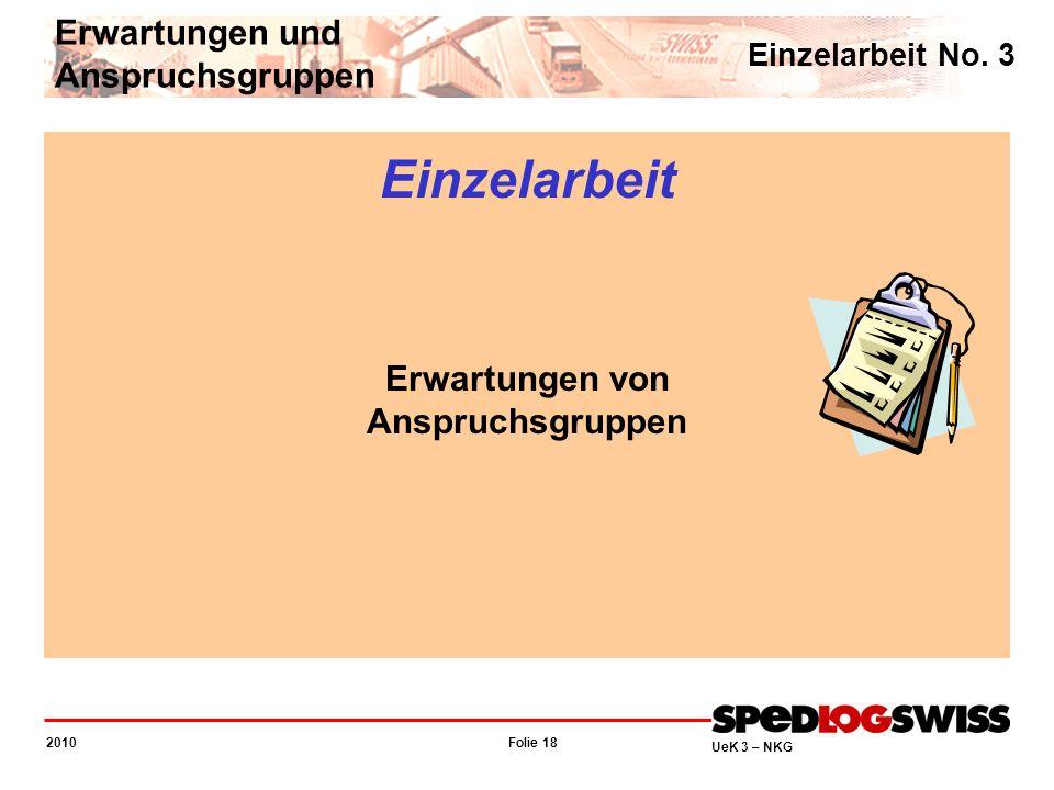 Folie 18 2010 UeK 3 – NKG Einzelarbeit No. 3 Erwartungen und Anspruchsgruppen Einzelarbeit Erwartungen von Anspruchsgruppen