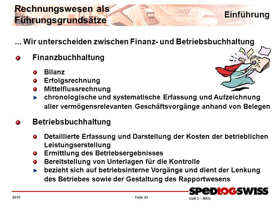 Folie 25 2010 UeK 3 – NKG Rechnungswesen als Führungsgrundsätze Einführung... Wir unterscheiden zwischen Finanz- und Betriebsbuchhaltung Finanzbuchhal