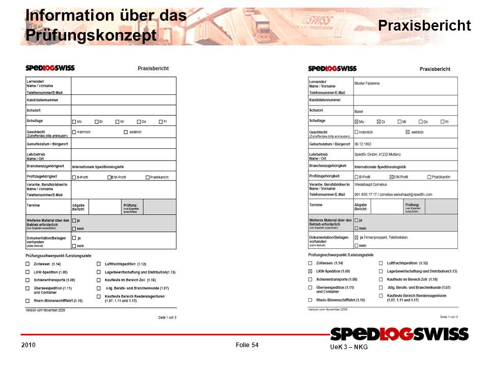 Folie 54 2010 UeK 3 – NKG Information über das Prüfungskonzept Praxisbericht