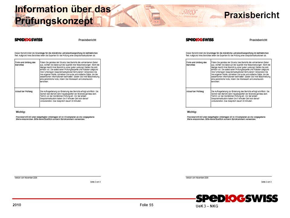 Folie 55 2010 UeK 3 – NKG Information über das Prüfungskonzept Praxisbericht