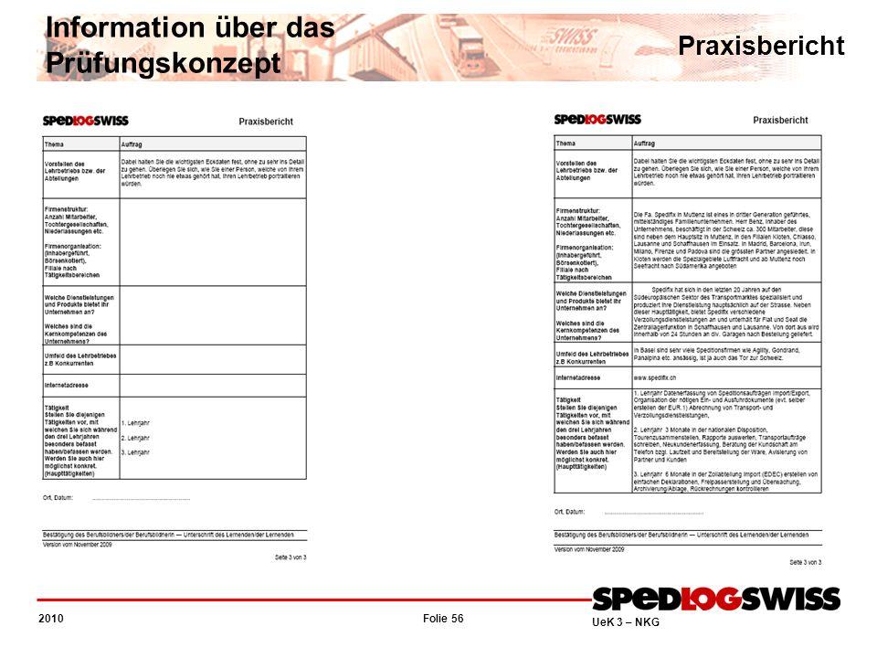 Folie 56 2010 UeK 3 – NKG Information über das Prüfungskonzept Praxisbericht
