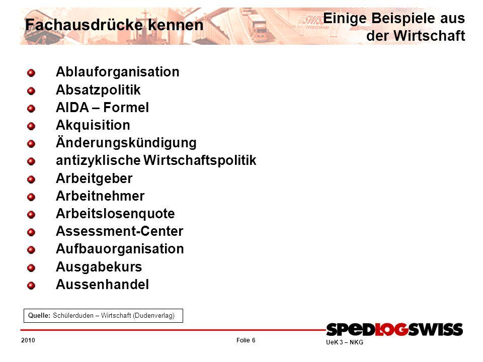 Folie 17 2010 UeK 3 – NKG Unsere Themen Block I - Fachausdrücke kennen LZ 2.5.1.1.