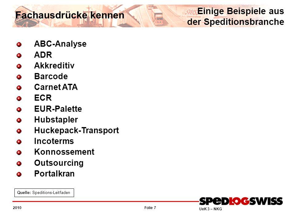 Folie 7 2010 UeK 3 – NKG Fachausdrücke kennen Einige Beispiele aus der Speditionsbranche ABC-Analyse ADR Akkreditiv Barcode Carnet ATA ECR EUR-Palette