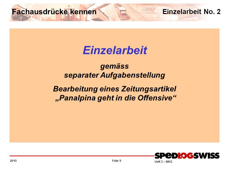 Folie 9 2010 UeK 3 – NKG Fachausdrücke kennen Einzelarbeit No. 2 Einzelarbeit gemäss separater Aufgabenstellung Bearbeitung eines Zeitungsartikel Pana
