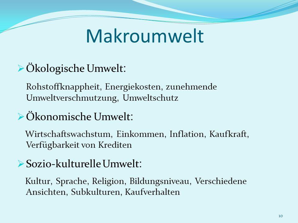 10 Makroumwelt Ökologische Umwelt : Rohstoffknappheit, Energiekosten, zunehmende Umweltverschmutzung, Umweltschutz Ökonomische Umwelt : Wirtschaftswac