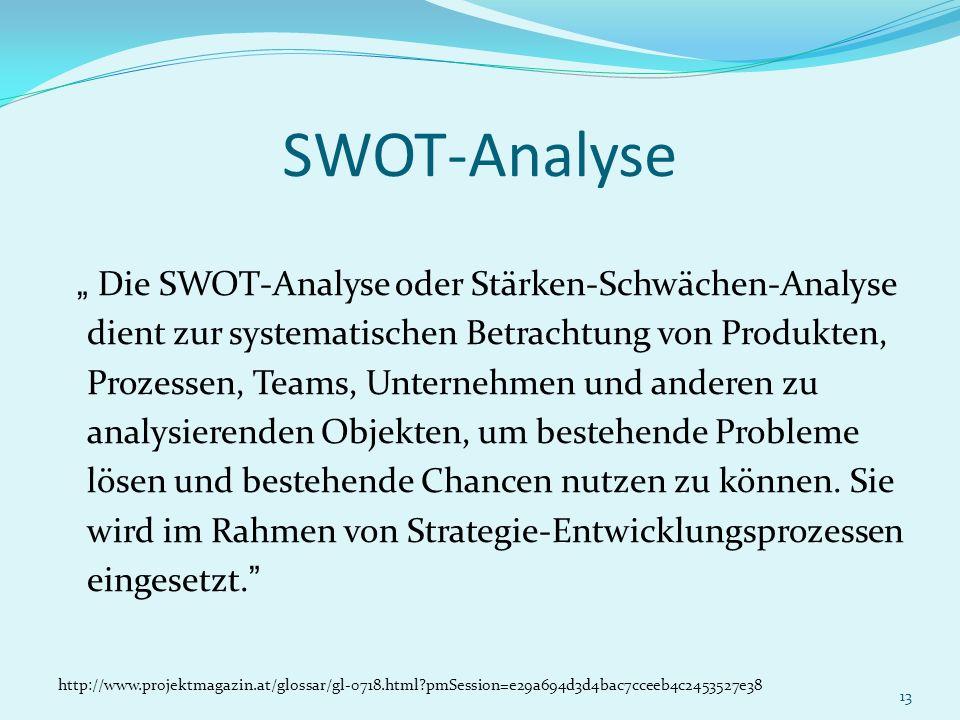 13 SWOT-Analyse Die SWOT-Analyse oder Stärken-Schwächen-Analyse dient zur systematischen Betrachtung von Produkten, Prozessen, Teams, Unternehmen und