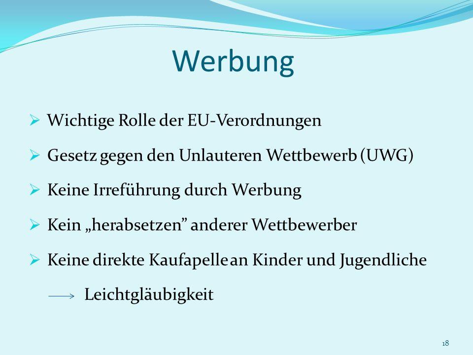 18 Werbung Wichtige Rolle der EU-Verordnungen Gesetz gegen den Unlauteren Wettbewerb (UWG) Keine Irreführung durch Werbung Kein herabsetzen anderer We