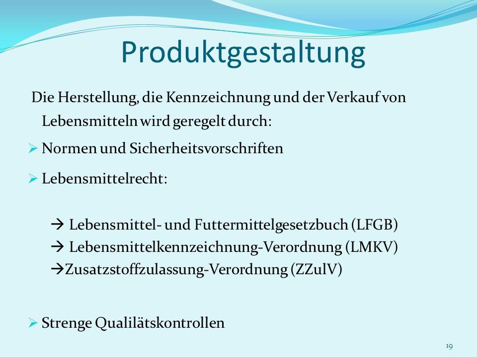 19 Produktgestaltung Die Herstellung, die Kennzeichnung und der Verkauf von Lebensmitteln wird geregelt durch: Normen und Sicherheitsvorschriften Lebe