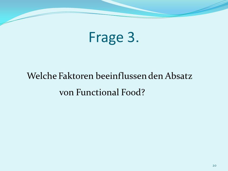 20 Frage 3. Welche Faktoren beeinflussen den Absatz von Functional Food?