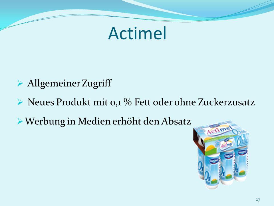27 Actimel Allgemeiner Zugriff Neues Produkt mit 0,1 % Fett oder ohne Zuckerzusatz Werbung in Medien erhöht den Absatz