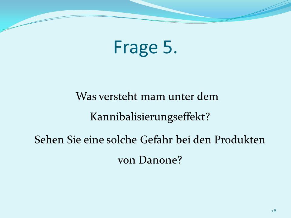 28 Was versteht mam unter dem Kannibalisierungseffekt? Sehen Sie eine solche Gefahr bei den Produkten von Danone? Frage 5.