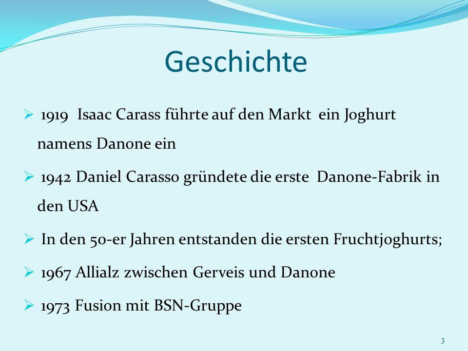 3 Geschichte 1919 Isaac Carass führte auf den Markt ein Joghurt namens Danone ein 1942 Daniel Carasso gründete die erste Danone-Fabrik in den USA In d