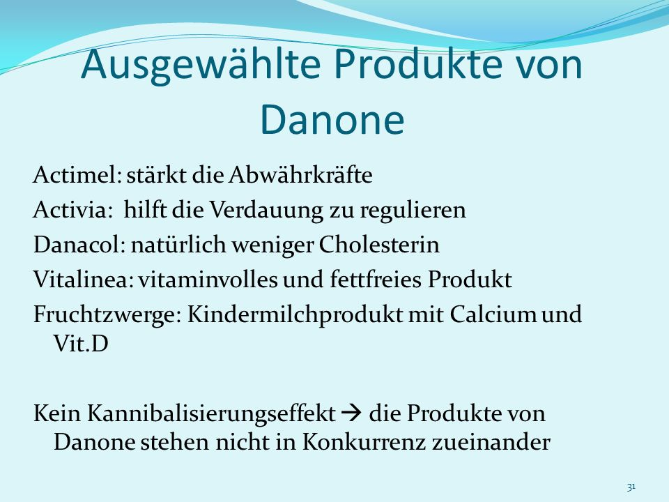 31 Ausgewählte Produkte von Danone Actimel: stärkt die Abwährkräfte Activia: hilft die Verdauung zu regulieren Danacol: natürlich weniger Cholesterin