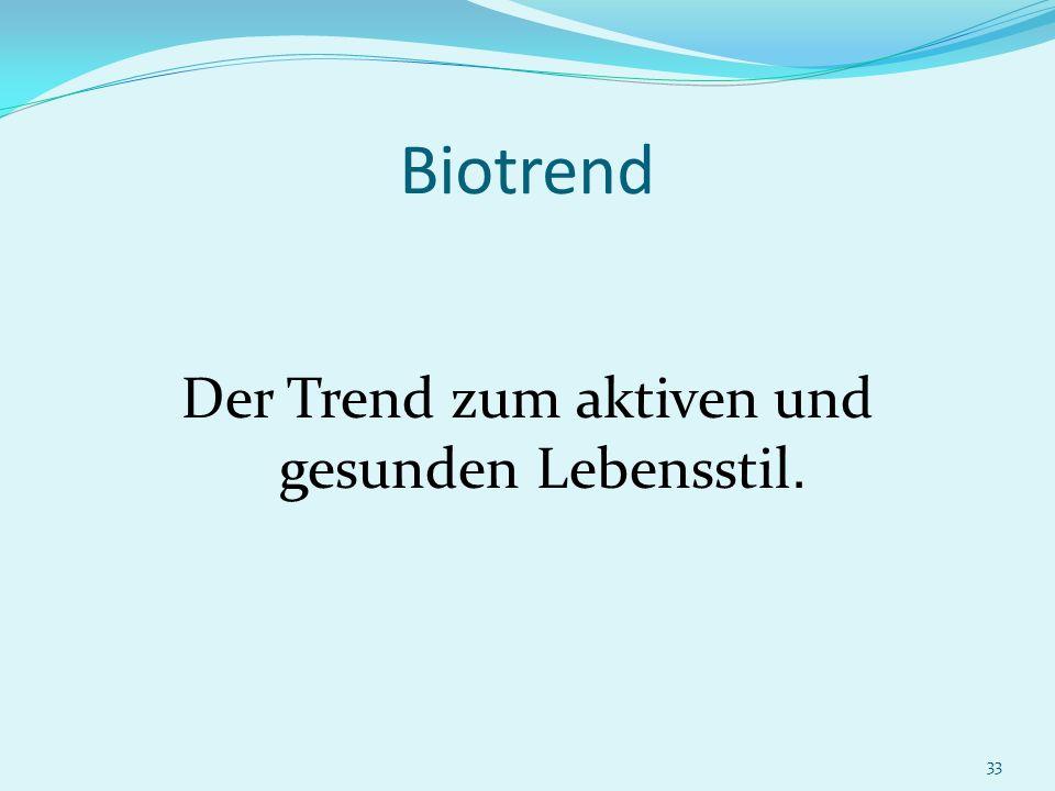 33 Biotrend Der Trend zum aktiven und gesunden Lebensstil.