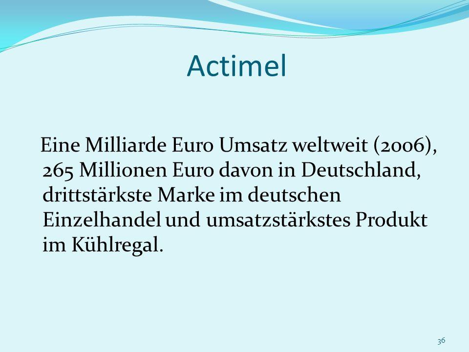 36 Actimel Eine Milliarde Euro Umsatz weltweit (2006), 265 Millionen Euro davon in Deutschland, drittstärkste Marke im deutschen Einzelhandel und umsa