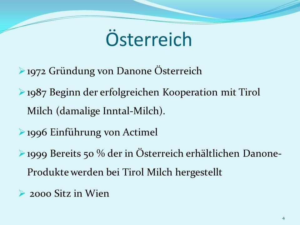 4 Österreich 1972 Gründung von Danone Österreich 1987 Beginn der erfolgreichen Kooperation mit Tirol Milch (damalige Inntal-Milch). 1996 Einführung vo