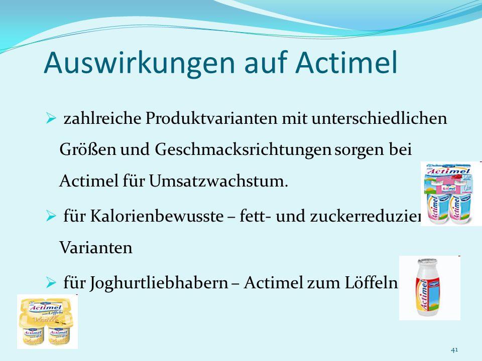 41 Auswirkungen auf Actimel zahlreiche Produktvarianten mit unterschiedlichen Größen und Geschmacksrichtungen sorgen bei Actimel für Umsatzwachstum. f
