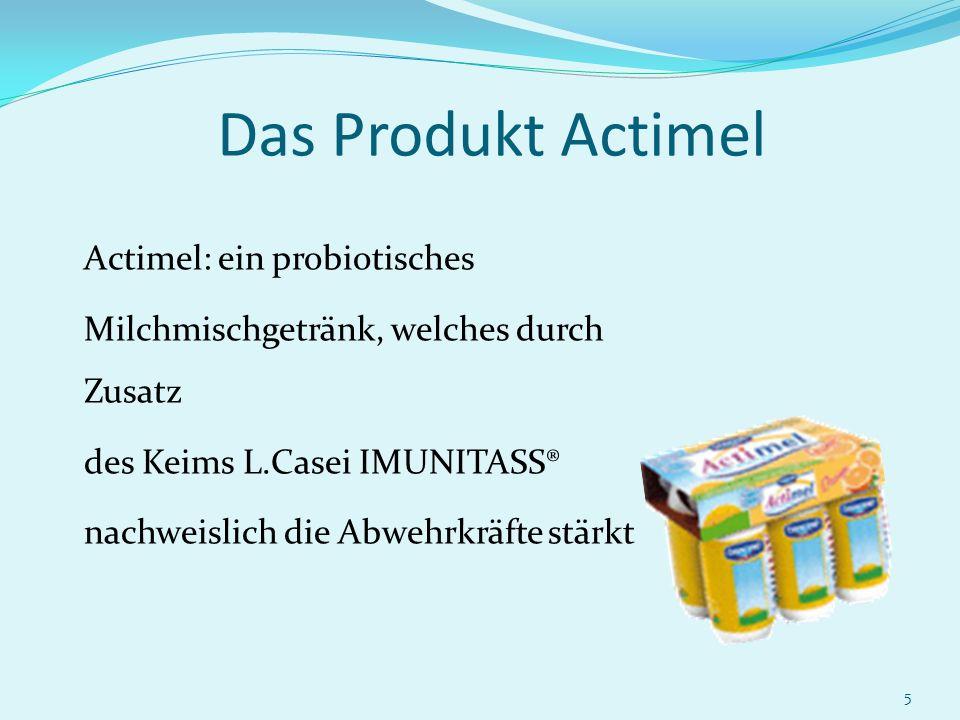 5 Das Produkt Actimel Actimel: ein probiotisches Milchmischgetränk, welches durch Zusatz des Keims L.Casei IMUNITASS® nachweislich die Abwehrkräfte st