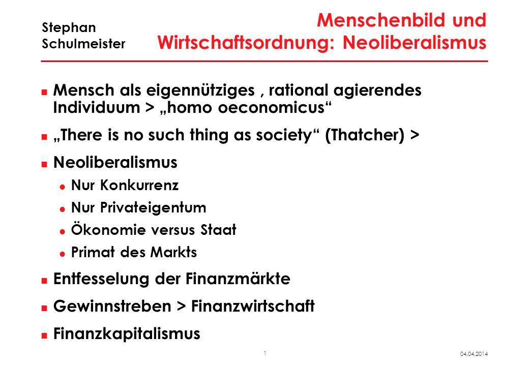 1 04.04.2014 Stephan Schulmeister Menschenbild und Wirtschaftsordnung: Neoliberalismus Mensch als eigennütziges, rational agierendes Individuum > homo